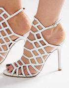 Steve Madden Slither White Patent Caged Heeled Sandals - White Patent