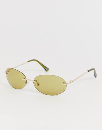 Asos Design Oval Rimless Sunglasses With Olive Lenses - Green