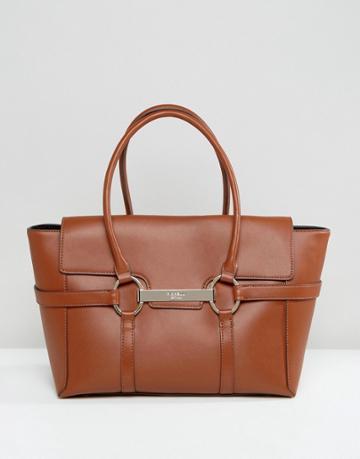 Fiorelli Barbican Foldover Tan Tote Bag With Metal Bar Detail - Tan