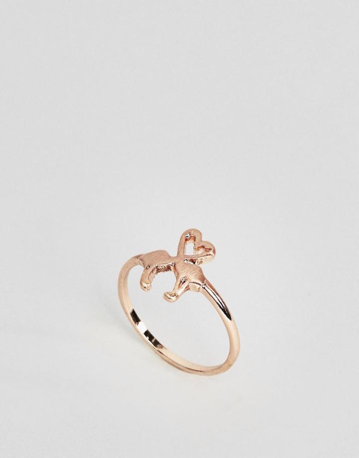 Asos Love Heart Flamingo Ring - Copper