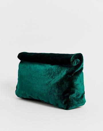 Asos Design Velvet Roll Top Clutch - Green