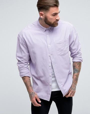 Asos Oversized Oxford In Lilac - Purple