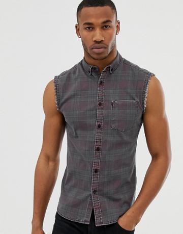 Asos Design Skinny Fit Sleeveless Check Shirt In Denim - Red