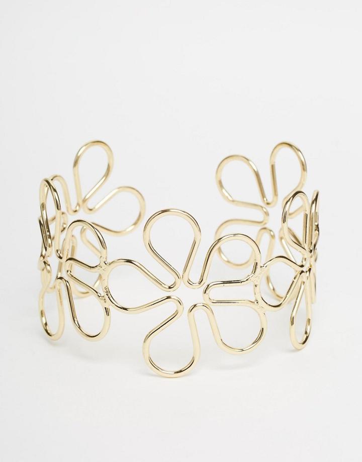Asos 60s Daisy Arm Cuff - Gold