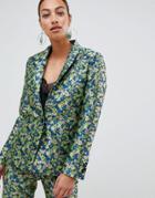 Asos Design Premium Tailored Blazer In Ditsy Floral Jacquard - Multi