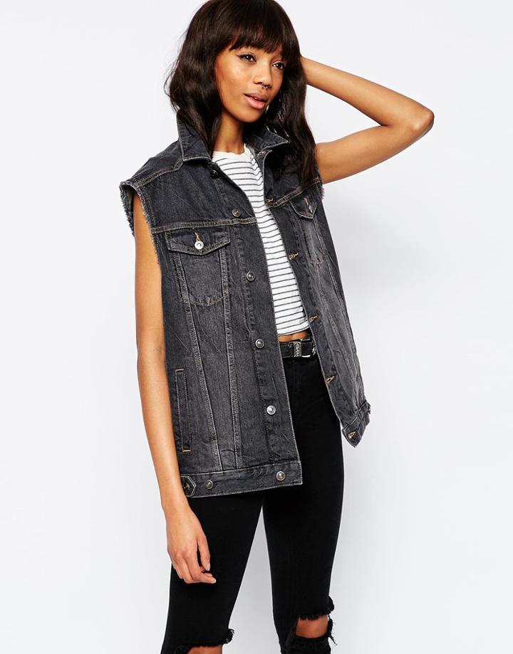 Asos Denim Girlfriend Vest Jacket In Washed Black - Washed Black
