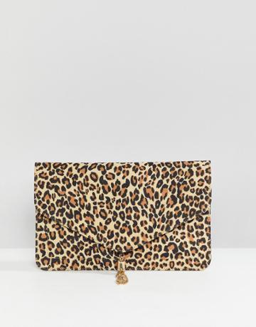 Asos Design Tassel Clutch Bag In Leopard - Multi