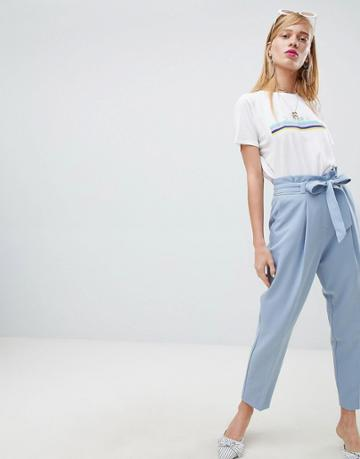 New Look Tie Waist Tapered Pant - Blue