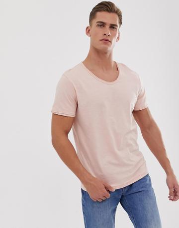 Jack & Jones Premium Scoop Neck Slub T-shirt In Pink - Pink