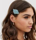 Designb London Mint Resin Shell Hair Clip-green