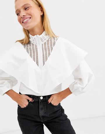 Asos White Lace Insert Cotton Top - White
