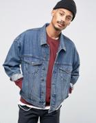 Asos Denim Jacket In Oversized Fit In Blue Wash - Blue