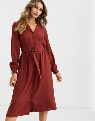 Vero Moda Midi Shirt Dress With Fabric Covered Belt In Brown