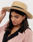 South Beach Straw Boater Hat With Black Ribbon-beige