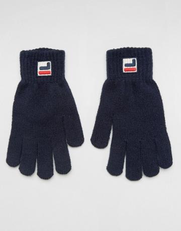 Fila Gloves With Small Box Logo In Navy - Navy
