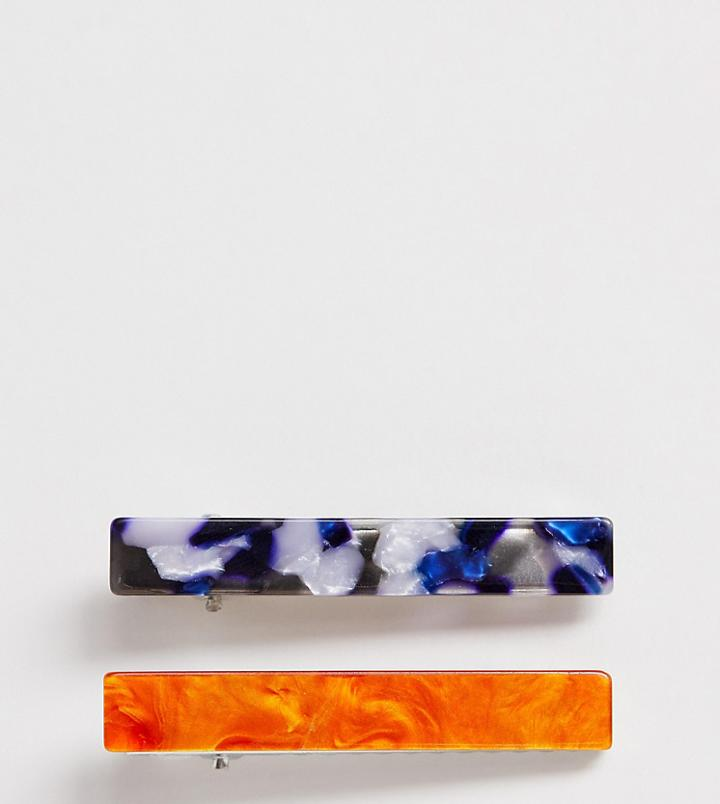 Designb London Blue & Peach Resin Hair Clips-multi