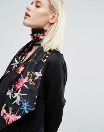 Asos Black Based Floral Skinny Scarf/headscarf - Black