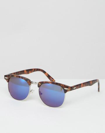 Asos Retro Sunglasses In Tort With Blue Revo Lens - Brown
