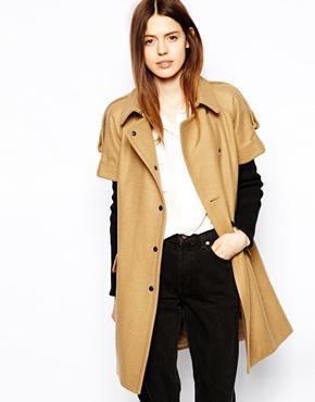 Asos Coat With Short Sleeve And Rib Insert - Camel