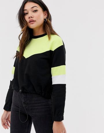 Asos Design Sweatshirt In Neon Color Block With Drawstring Hem - Black
