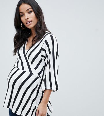Asos Design Maternity Nursing Kimono Wrap Top In Stripe - Multi