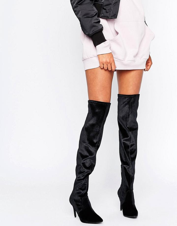 New Look Velvet Thigh High Heeled Boots - Black