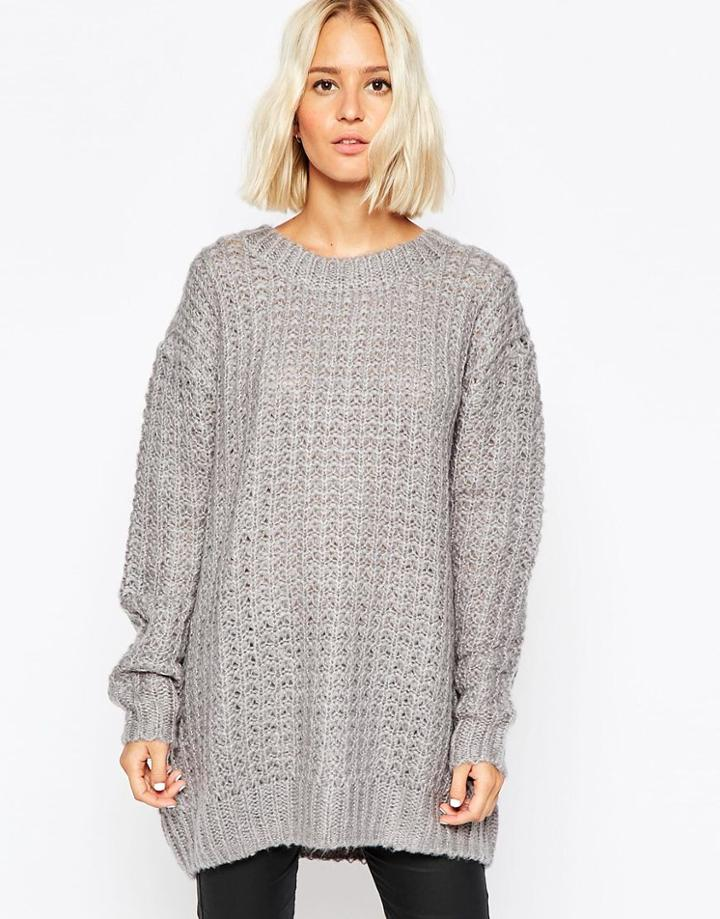 Cheap Monday Chunky Oversize Knit Sweater - Gray
