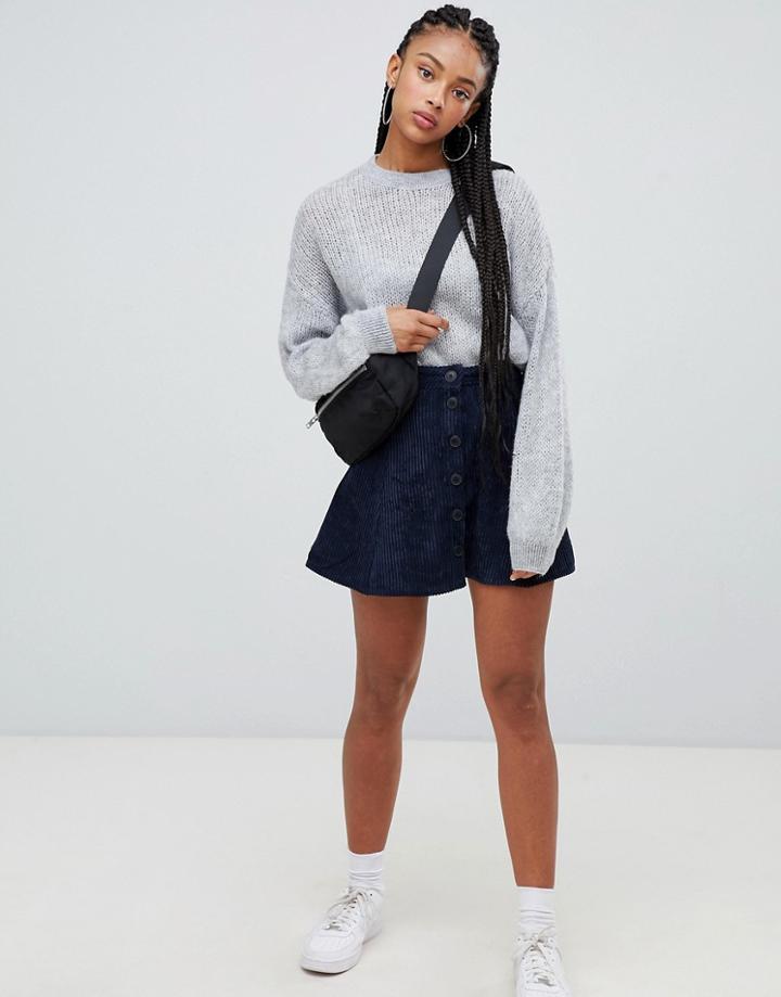 Bershka Cord Detail Aline Skirt - Blue