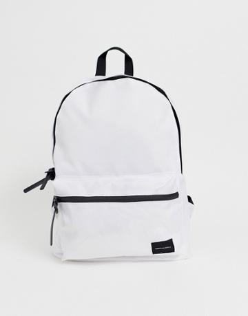 Asos Design Backpack In White With Contrast Black Zips - White