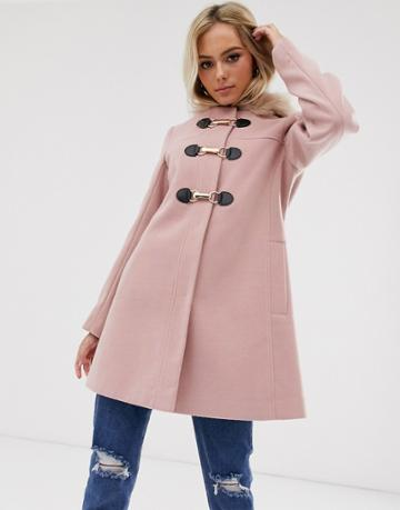 Asos Design Duffle With Swing Skirt And Metal Work Coat In Pink - Pink
