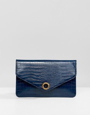 Asos Design Croc Envelope Clutch Bag With Ring Detail - Green