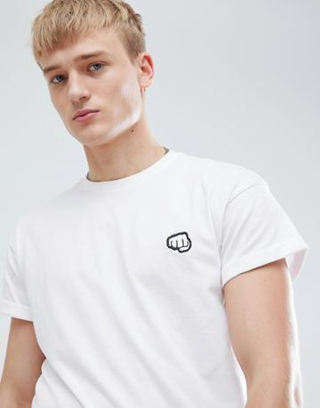 New Look T-shirt With Fist Pump Embroidery In White - White