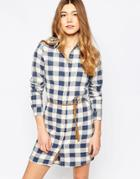 Only Checked Shirt Dress - Dark Blue Denim