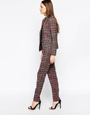 Selected Plaid Pants - Dark Gray Melange