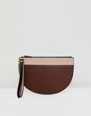 Asos Design Contrast Half Moon Clutch Bag - Multi