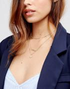 Pieces Multi Layer Chain Necklace - Gold