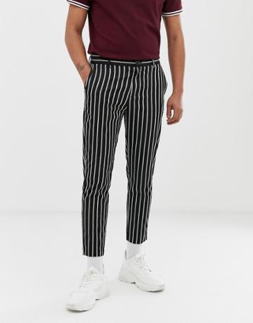 Bershka Skinny Pants With Stripes In Black - Black