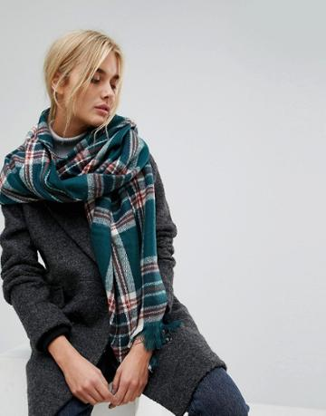 Pieces Jalle Heritage Check Long Scarf - Green