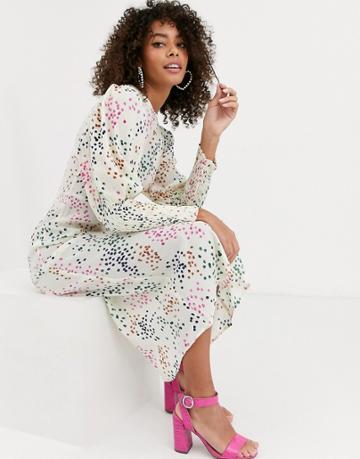 Never Fully Dressed Long Shirred Sleeve Midi Dress In Contrast Cream Polka Dot