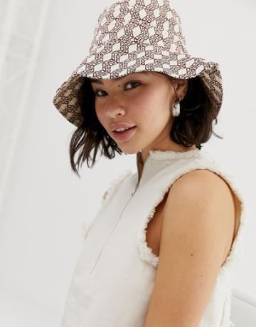 Asos Design Monogram Bucket Hat - Multi