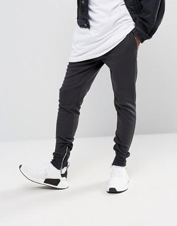 Sixth June Skinny Joggers In Black With Zip Ankle - Black