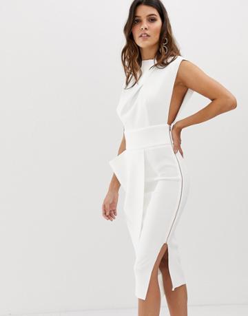 Asos Design Premium High Neck Midi Pencil Dress With Drape Skirt - White