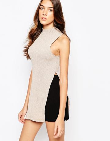 Lola May Rib Roll Neck Tunic With Side Splits - Camel