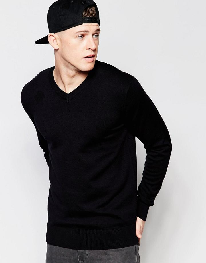 Brave Soul V Neck Sweater - Black