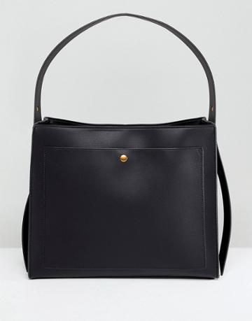 Asos Design Clean Single Strap Tote With Old Gold Metal Work - Black