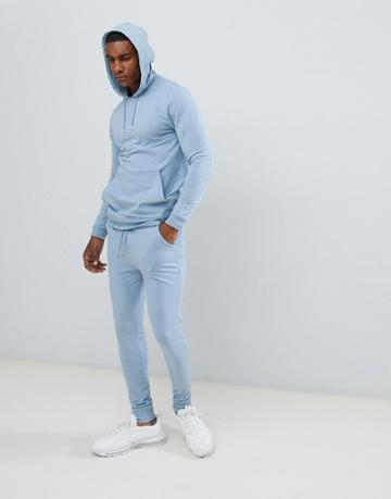Asos Design Tracksuit Muscle Hoodie / Extreme Super Skinny Joggers In Light Blue - Blue