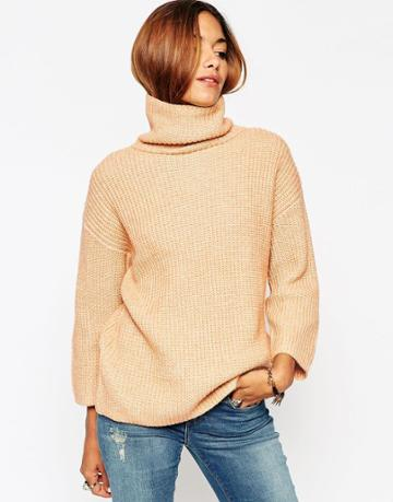Asos Sweater With Funnel Neck And Wide Sleeve - Camel Twist