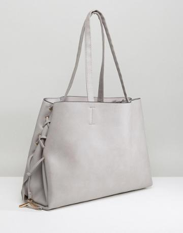 New Look Lace Up Tote Bag - Gray