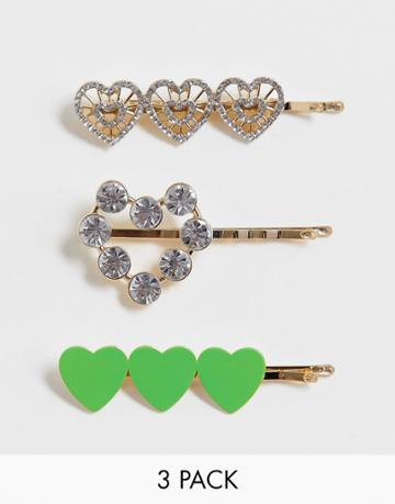 Asos Design Pack Of 3 Hair Clips In Heart Designs In Gold Tone - Gold