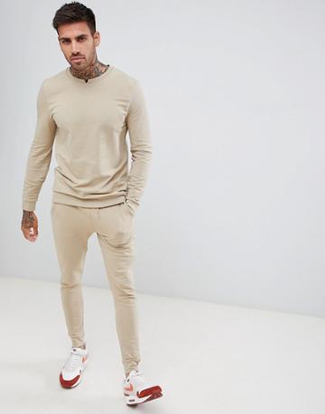 Asos Design Tracksuit Muscle Sweatshirt With Notch Neck/ Skinny Joggers In Beige - Beige
